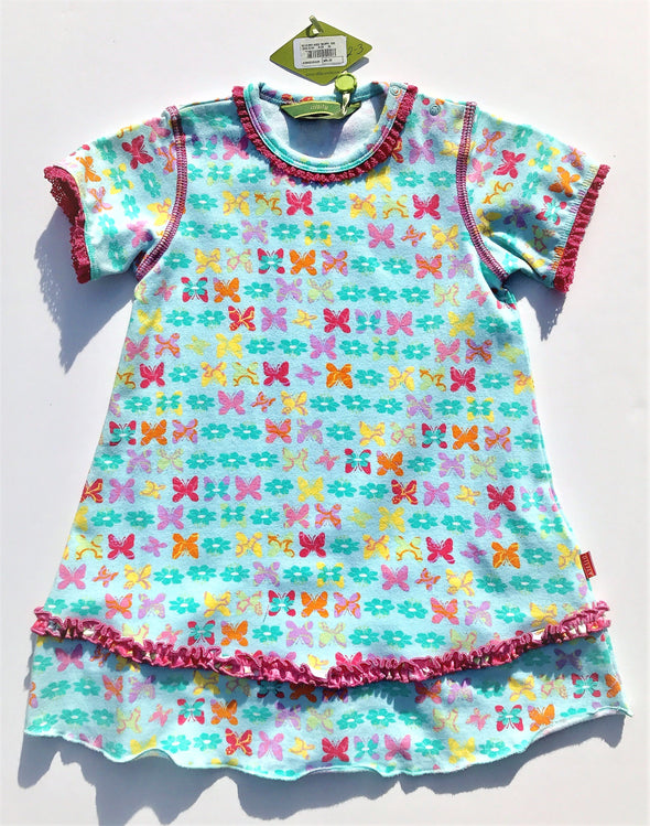 Oilily  Girls Cotton Knit Cap Sleeve Dress With Printed Butterfly's And Ruffles