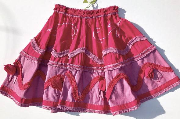 Oilily Tiered and Ruffles Long Skirt With Attached Rosebuds