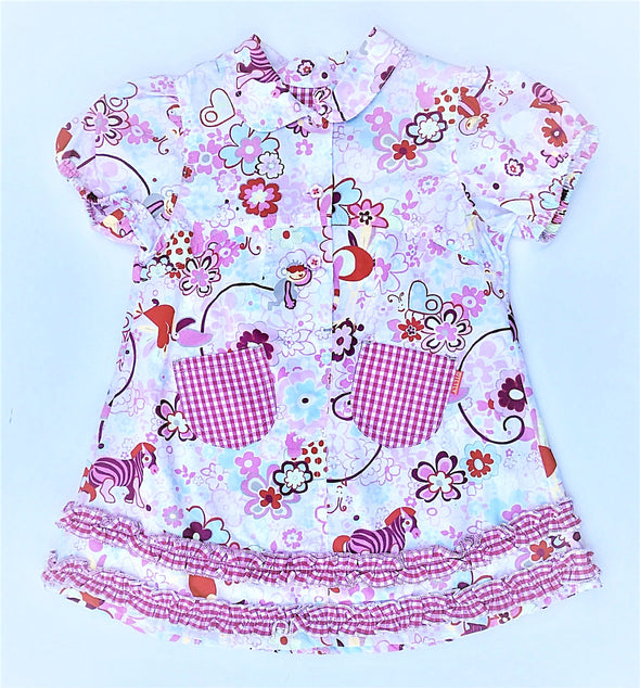 Oilily Girls Multi Prints and Ruffles Dress