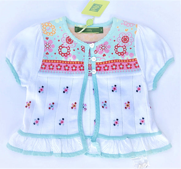 Oilily Short Sleeve Bolero/Cardigan Sweater with Floral Embroidery