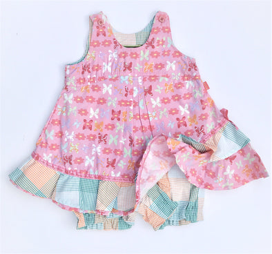 Oilily Infant Girls 1Pc Dress Romper With Butterflies Print