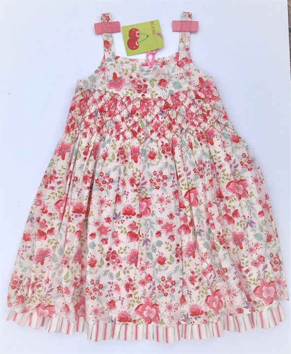 ROOM SEVEN Girls Layered Smocking  Floral Print Sundress