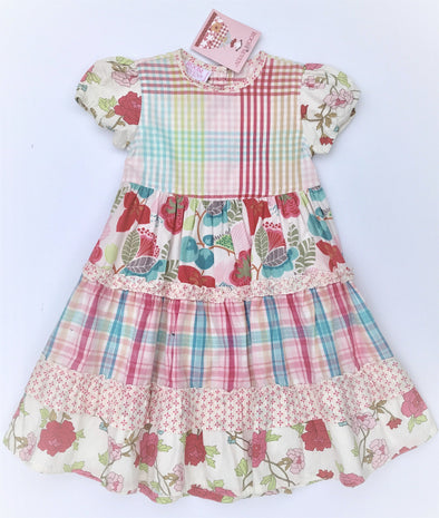 ROOM SEVEN Girls Spring/Summer Tiered Floral Cap Sleeve Dress
