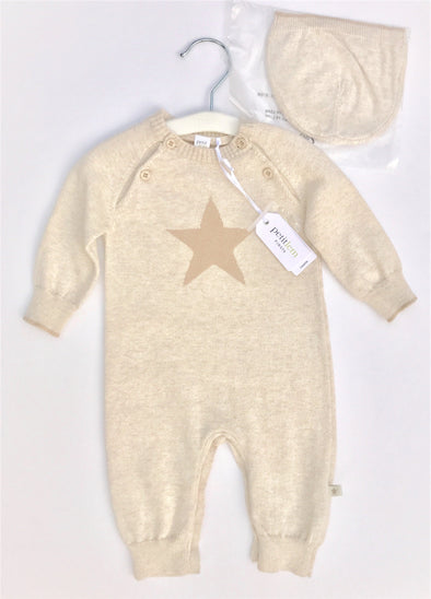 Petit Lem 2Pc  Fall/Winter Ecru Knit Romper With Star Print And Cap