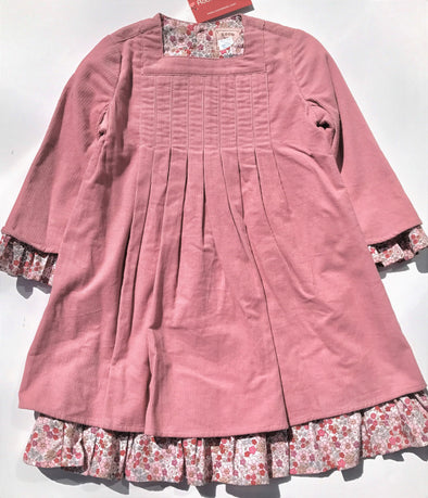 ROOM SEVEN Girls Fall/Winter Layered Fine Wale Rose Corduroy Dress