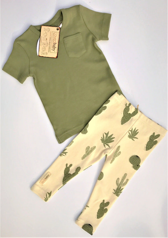 L'ovedbaby 2Pc Naturals V-Neck Shirt and Cactus Leggins 100% Organic Cotton