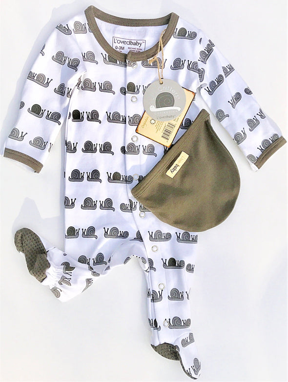 L'ovedbaby L'il Critters Gray Snails Gloved Sleeve Overall Footie 2Pc Set