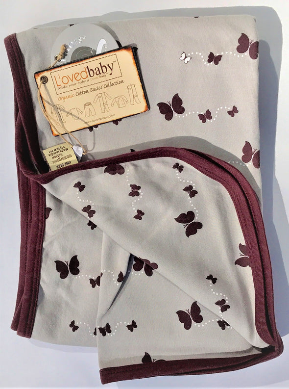 L'ovedbaby   Swaddling Blanket  Eggplant Butterflies 100% Organic Cotton