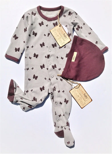 L'ovedbaby 2Pc Gl'oved-Sleeve Overall Eggplant Butterflies 100% Organic Cotton