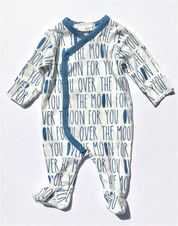 FIRSTS By Petit Lem 1Pc Footie Over The Moon Organic Cotton