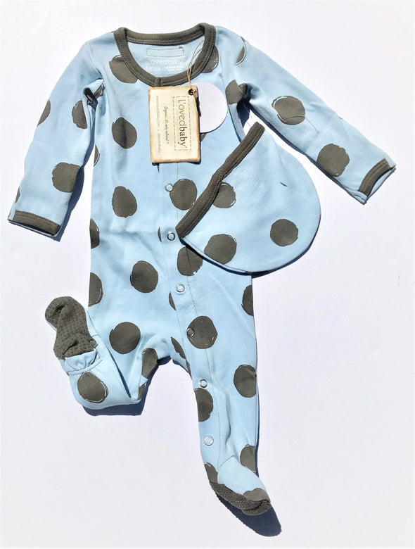 L'ovedbaby 2Pc la-di-dots Footed Overall and Cap Moonbeam/Gray 100% Organic Cotton