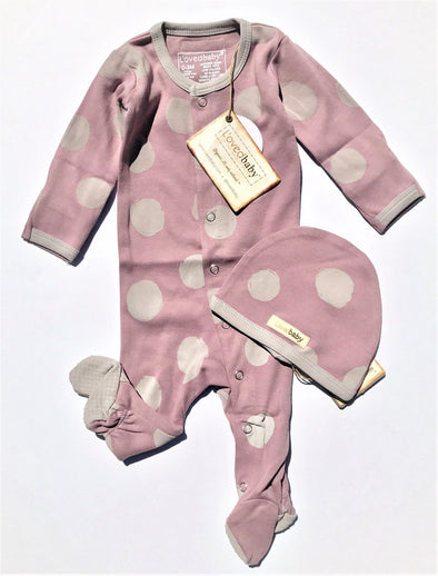 L'ovedbaby 2Pc la-di-dots Footed Overall and Cap Lavender/Light Gray 100% Organic Cotton