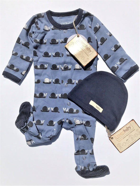 L'ovedbaby L'il Critters Navy Snails Gloved Sleeve Overall Footie 2Pc Set