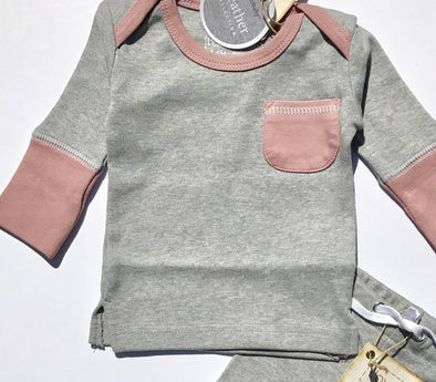L'ovedbaby 2Pc Organic Jogger Mauve/Heather Gray 100% Organic Cotton