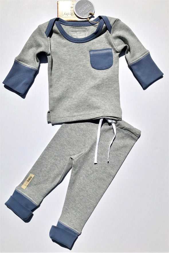 L'ovedbaby 2Pc Organic Jogger Slate/Heather Gray 100% Organic Cotton