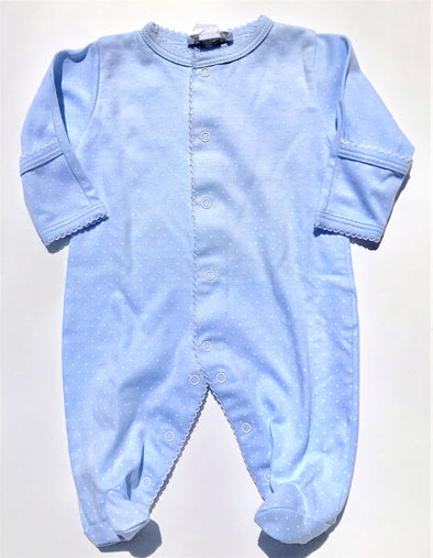 Kissy Kissy 1Pc Light Blue/White New Kissy Dots Print Footie