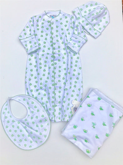 Kissy Kissy 1Pc Homeward Celery Frogs Print Convertible Gown