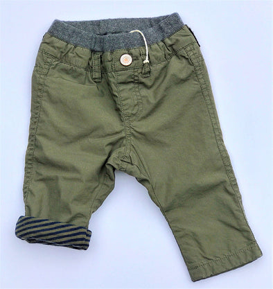 BIT'Z KIDS INFANT BOYS OLIVE FULLY COTTON LINED PULL ON PANTS