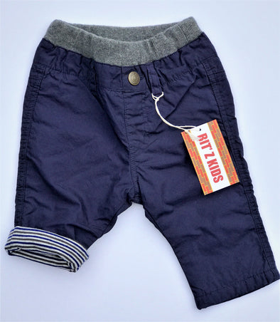 BIT'Z KIDS INFANT BOYS NAVY FULLY COTTON LINED PULL ON PANTS