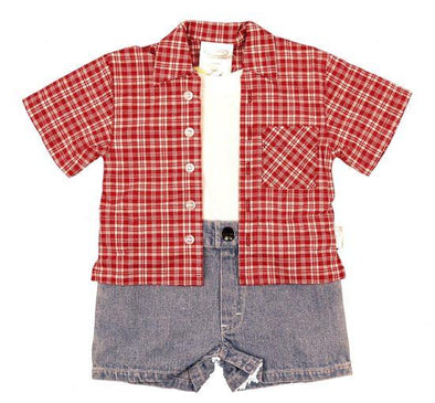 Stylease  Infant Boys Denim/Plaid 1Pc Romper