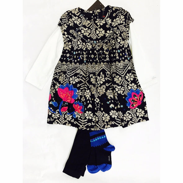 Catimini 2Pc Fall/Winter Dress with Matching Tights
