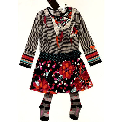 Catimini 2Pc Fall/Winter Southwest Style Dress with Matching Tights