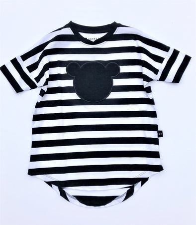 HUXBABY BLK/WHT ORGANIC COTTON STRIPE DRESS WITH TEDDY BEAR APPLIQUE