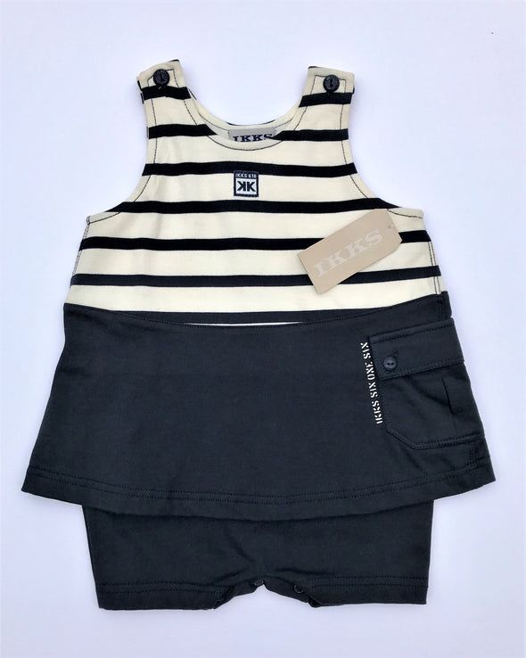 IKKS 1Pc Sleeveless Navy and Cream Dress Romper