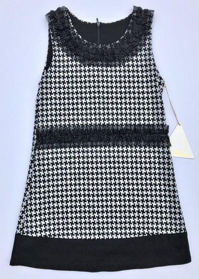 Alitsa Sleeveless Black/White Knit Houndstooth With Chiffon Trim Details Dressy Dress