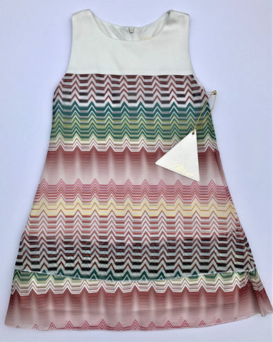 Alitsa Chiffon Tiered Sleeveless Zigzag Print Dressy Dress