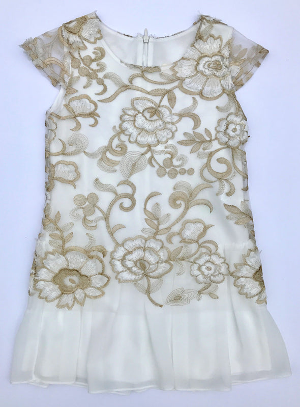 Alitsa Gold/Cream Cap Sleeve Floral Embroidered Mesh Over Cream Chiffon Dressy Dress