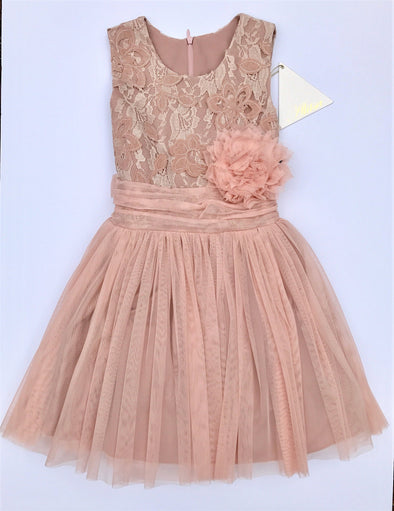 Alitsa Dusty Rose Sleeveless Lace Top Party Dress