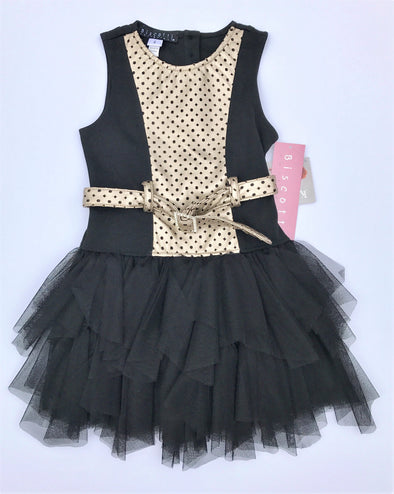 Biscotti Black/Metalic Gold Faux Leather  and Knit Tutu Dress