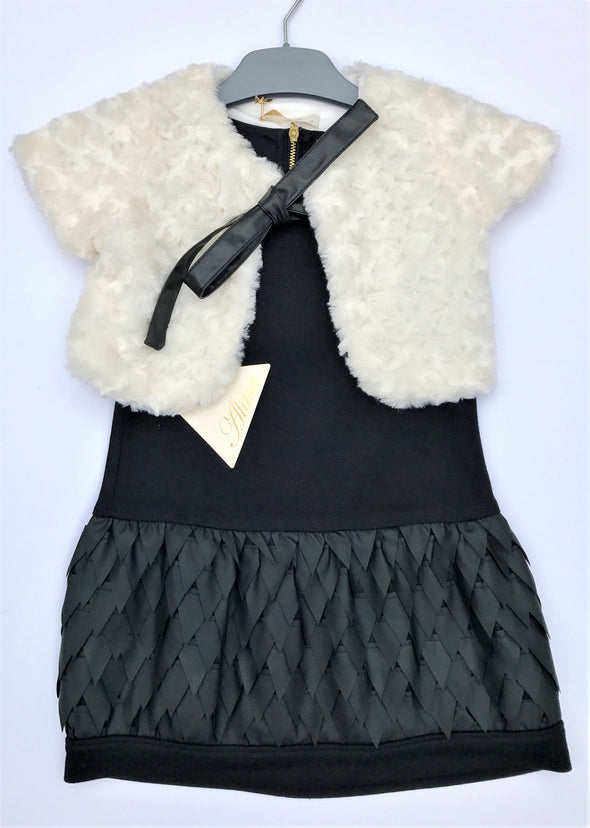 Alitsa 2Pc Sleeveless Black Cotton Knit Dress With Faux Leather Details And Faux Fur Jacket