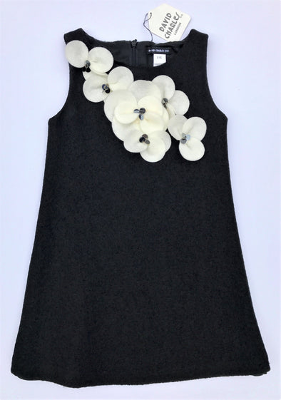 David Charles Of London Classic Black Stretch Dress With Cream Flowers And Sequin