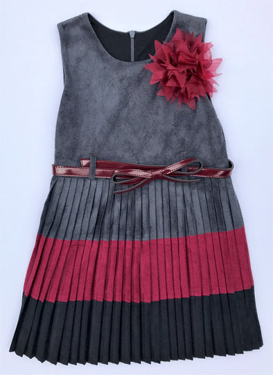Alitsa Grey/Burgandy Pleated Faux Suede Sleeveless Dressy Dress