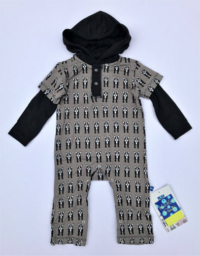 Kickee Pants French Bulldog  L/S Hoodie Romper With Snaps