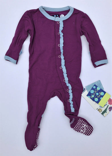 Kickee Pants Starfish With Pond Solid Muffin Ruffle Footie With Snaps