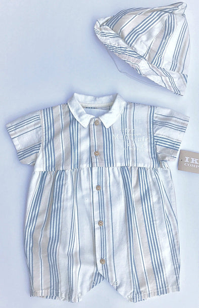 IKKS 2pc Striped Romper  With Sun Hat