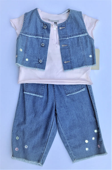 IKKS 3Pc Soft Denim Vest Top And Pant Set