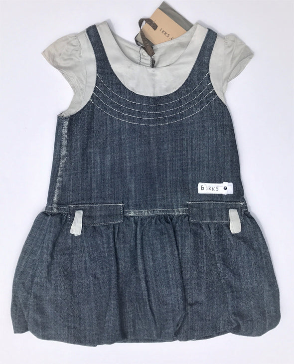 IKKS 1Pc Infant Girls Soft Denim And Silk Bubble Dress