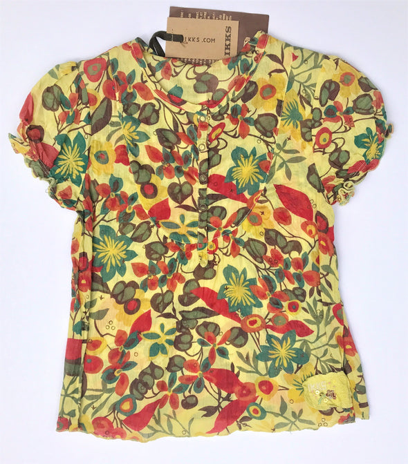 IKKS Girls Floral Very Soft Henley Style Short Sleeve Top