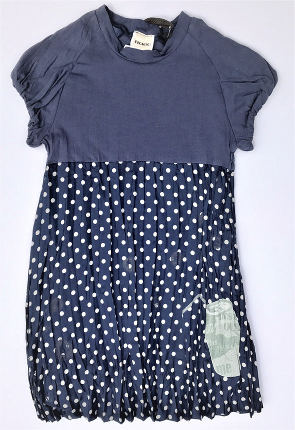 IKKS Navy Polka Dot Cap Sleeve Crinkly Silk Dress With Cotton Lining