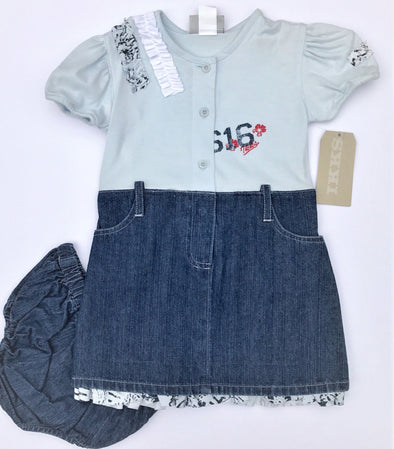 IKKS 2Pc Cap Sleeve Cotton Knit and Denim Dress With Diaper Cover