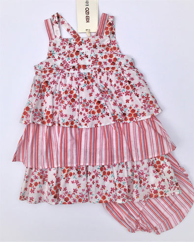 Kenzo Of France 2Pc Tiered Floral Sundress With Diaper Cover
