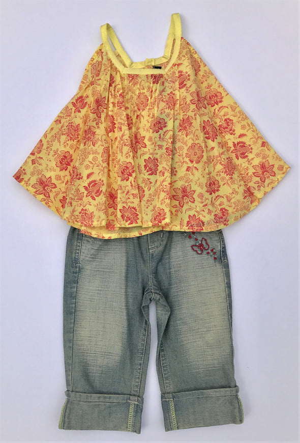 Jean Bourget 2Pc Sleeveless Floral Tunic And Cropped Denim Pant