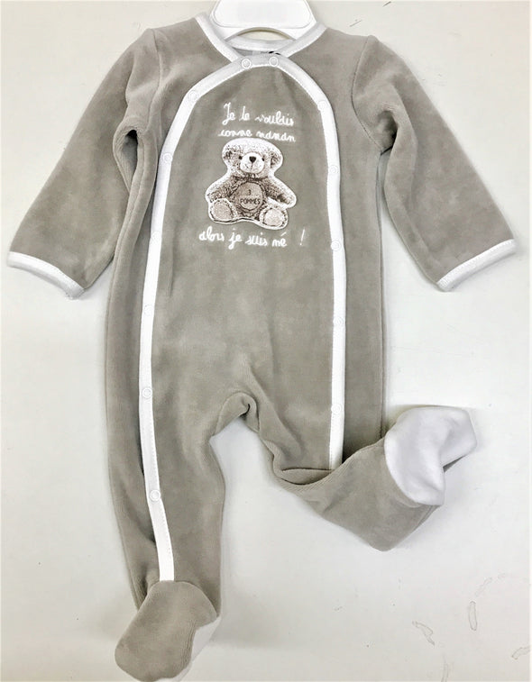3Pommes Taupe Velour  Onesie With Bear Applique