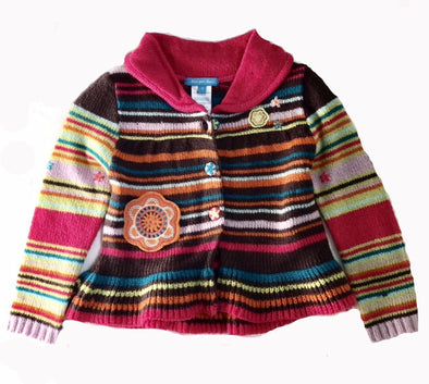 Deux Par Deux Girls Striped Cardigan