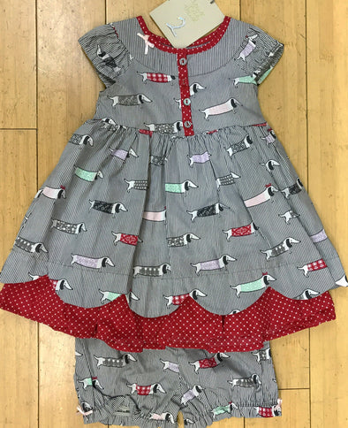 Deux par Deux Infant/Tod 2Pc Girls Spring/Summer Dogs Print Dress