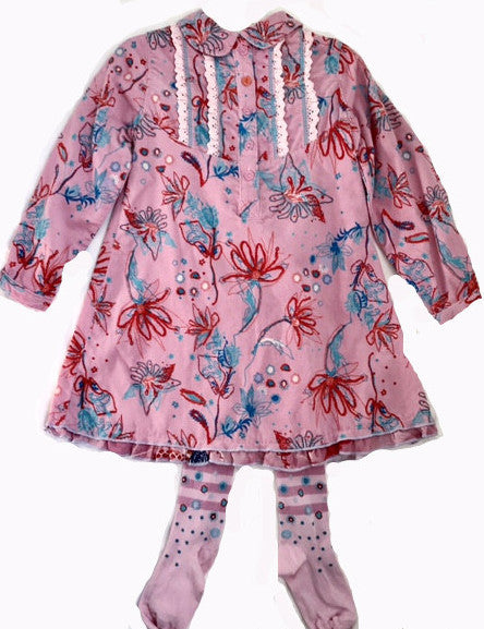 Cakewalk Girls Pink Floral Fall/Winter Dress With Tights